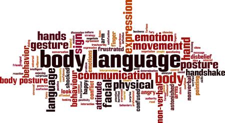 Koncepcja chmura słowa języka ciała. Ilustracji wektorowych