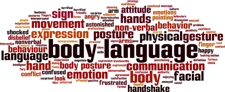 Body language word cloud concept. Vector illustration