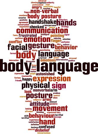 Concepto de nube de word de lenguaje corporal. Ilustración vectorial