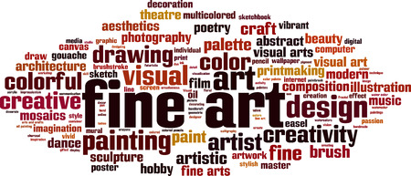 Concepto de nube de palabras de bellas artes. Ilustración vectorial Foto de archivo - 90836632