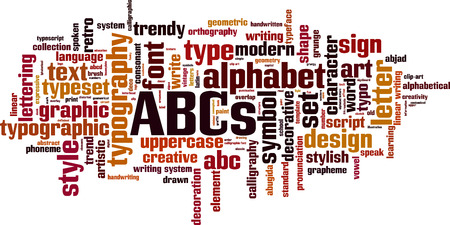 ABCs word cloud concept. Vector illustration