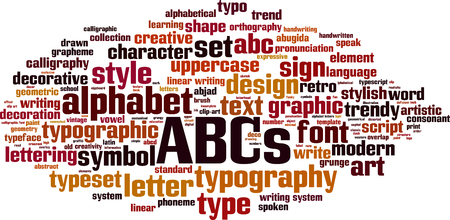 ABCs word cloud concept. Vector illustration