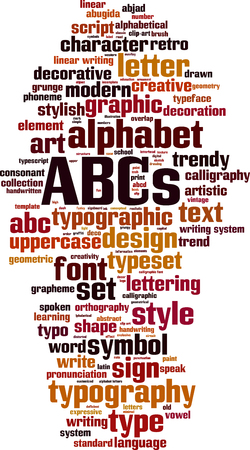 ABC's word cloud concept. Vector illustratie Stock Illustratie