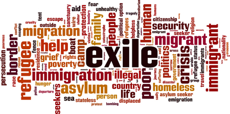 Exile word cloud concept. Vector illustration