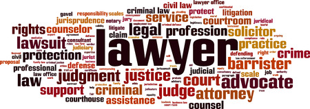 Lawyer word cloud concept. Vector illustration