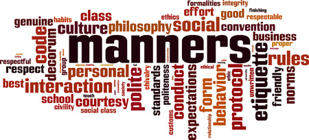 Manners word cloud concept. Vector illustration Vettoriali