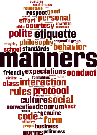 Manners word cloud concept. Vector illustration Vectores