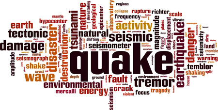 Quake word cloud concept. Vector illustration