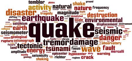 Quake word cloud concept. Vector illustration
