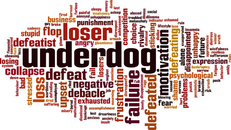 Underdog word cloud concept. Vector illustration