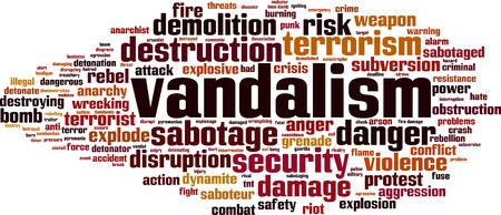 Vandalism word cloud concept. Vector illustration