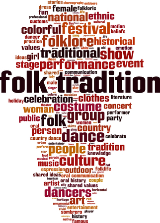 Folk tradition word cloud concept. Vector illustration