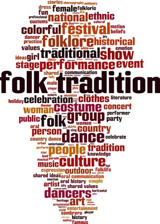 Folk tradition word cloud concept. Vector illustration Vetores