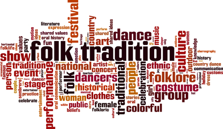 Focal tradition word cloud concept in colorful illustration.