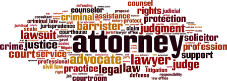 Attorney word cloud concept illustration.