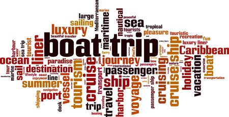 Boat trip word cloud concept illustration. Illustration