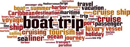 Boat trip word cloud concept illustration. Illustration