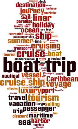 Boat trip word cloud concept illustration. Çizim