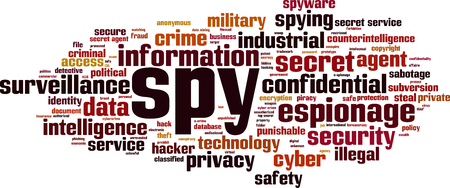Spy word cloud concept. Vector illustration Stock Illustratie
