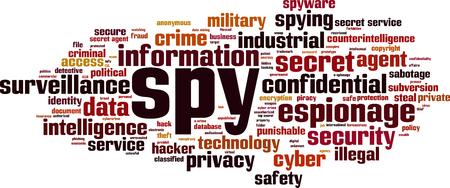 Spy word cloud concept. Vector illustration Illustration