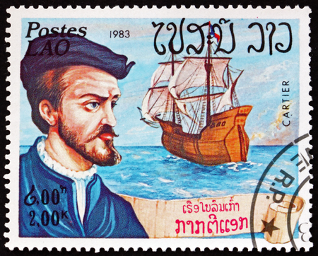 LAOS - CIRCA 1983: a stamp printed in Laos shows Jacques Cartier, French navigator and explorer, circa 1983