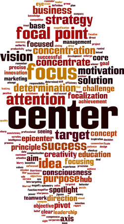 Center word cloud concept illustration. Vectores