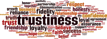 Trustiness word cloud concept illustration.