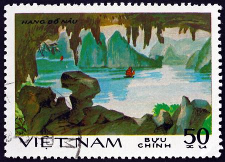 VIETNAM - CIRCA 1984: a stamp printed in Vietnam shows rock formation, Hang-Bo Nau, circa 1984 報道画像