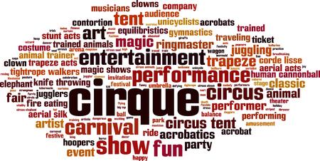 Cirque word cloud concept illustration.
