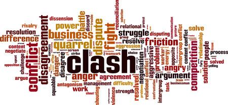 Clash word cloud concept illustration.