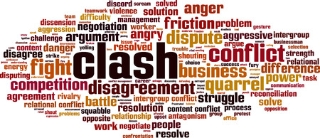 Clash word cloud concept illustration.