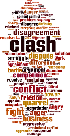 Clash word cloud concept.