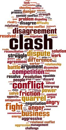 Clash word cloud concept.