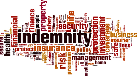 Indemnity word cloud concept.