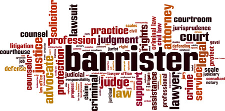 Barrister word cloud concept. Vector illustration