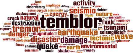 Temblor word cloud concept. Vector illustration