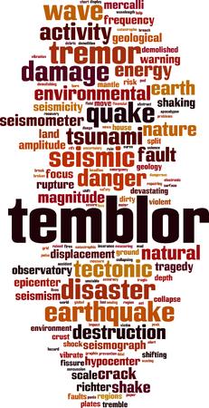 Temblor word cloud concept. Vector illustration