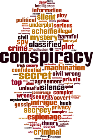 Conspiracy word cloud concept. Vector illustration Illustration