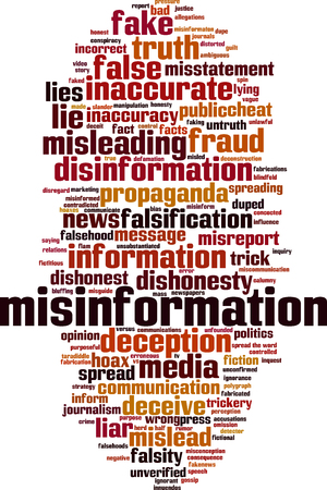 Misinformation word cloud concept. Vector illustration