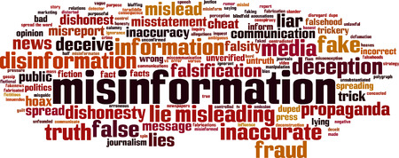 Misinformation word cloud concept. Vector illustration