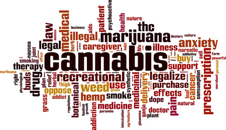 Cannabis word cloud concept. Vector illustration