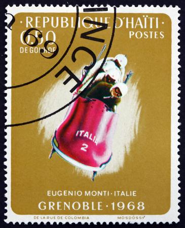 HAITI - CIRCA 1968: a stamp printed in Haiti shows Eugenio Monti, Italy, 4-man bobsled, 1968 Winter Olympics, Grenoble, circa 1968 Editorial
