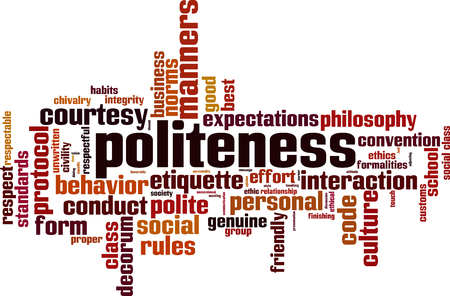 Politeness word cloud concept. Vector illustration