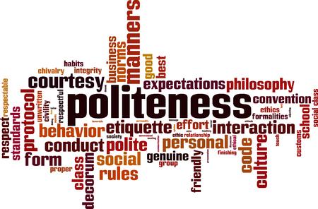 Politeness word cloud concept. Vector illustration