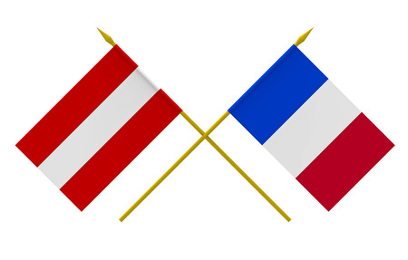 Flags of Austria and France, 3d render, isolated on white