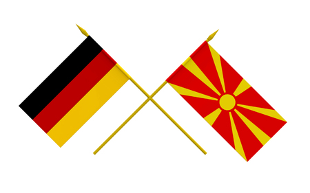 Flags of Germany and Macedonia, 3d render, isolated