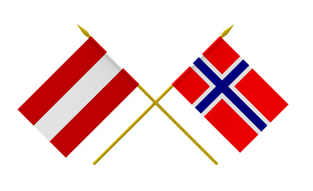 Flags of Austria and Norway, 3d render, isolated on white