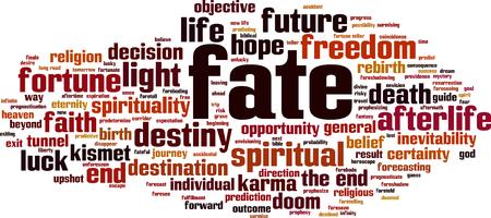 Fate word cloud concept vector illustration. Illustration