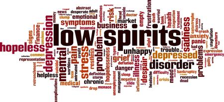 Low spirits word cloud concept. Vector illustration. Illustration