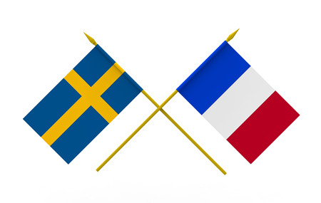 Flags of Sweden and France, 3d render, isolated on white Stock Photo